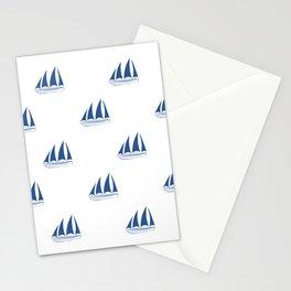 Blue Sailboat Pattern Stationery Cards