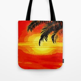 Sunset under the Palm trees Tote Bag