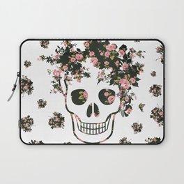 Flower Skull, Floral Skull, Pink Flowers on Human Skull Laptop Sleeve