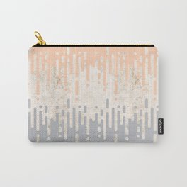 Marble and Geometric Diamond Drips, in Grey and Peach Carry-All Pouch