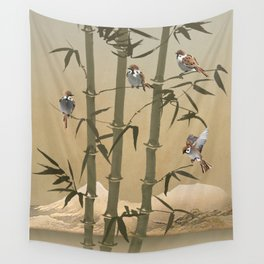Sparrows And Bamboo Wall Tapestry