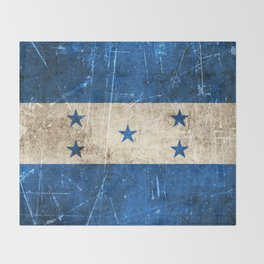 Vintage Aged and Scratched Honduras Flag Throw Blanket