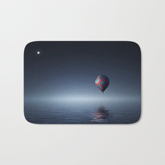 Hot Air Balloon Over Water Bath Mat