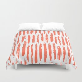 Vertical Dash Deep Coral on White Duvet Cover