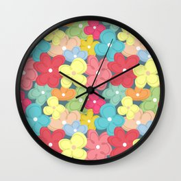 Colorful Flowers Pattern Wall Clock