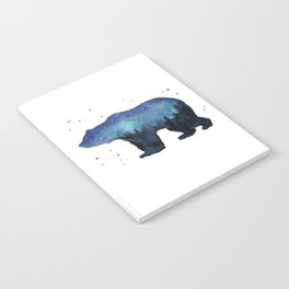 Forest Bear Silhouette Watercolor Galaxy Notebook