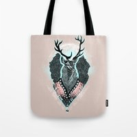 wind Tote Bags featuring Wind:::Deer by Süyümbike Güvenç