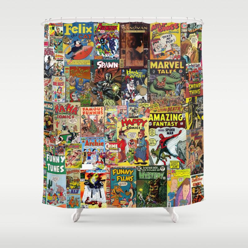Marvel shower curtain - Comics Shower Curtains Society6