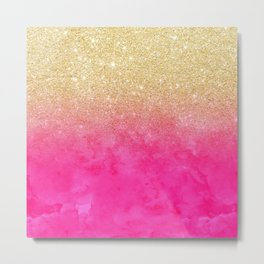 Modern girly gold glitter ombre fade neon pink watercolor Metal Print