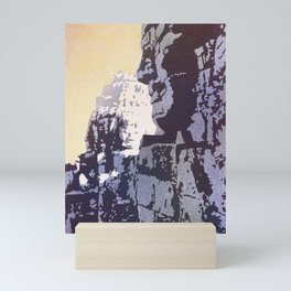 Watercolor of Khmer/Buddhist temple of the Bayon at Angkor Wat ruins- Siem Reap, Cambodia Mini Art Print