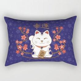 Maneki-neko cat with good luck kanji Rectangular Pillow