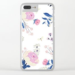 Floral pattern King Protea pink blush blue grey Clear iPhone Case