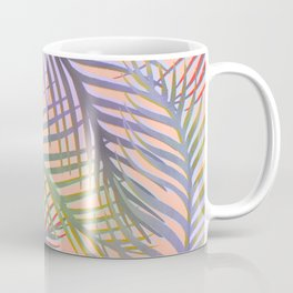 Palm Leaves Pattern - Purple, Peach, Blue Coffee Mug
