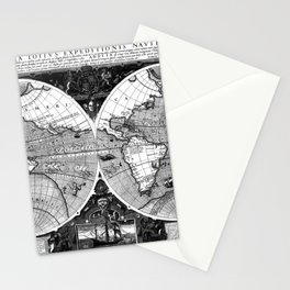 Black and White World Map (1595) Stationery Cards