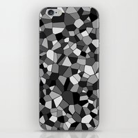gray pattern iPhone & iPod Skins featuring Gray Monochrome Mosaic Pattern by Margit Brack