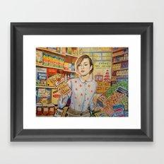 Supermarket vintage, painting, retro Framed Art Print