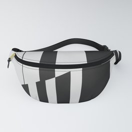 Geometric Abstract #10 Black and White Stripes Fanny Pack
