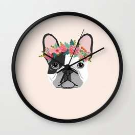 French Bulldog dog breed floral crown frenchies lover pure breed gifts Wall Clock
