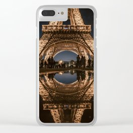 Night Reflection of the Eiffel Tower, Paris, France Clear iPhone Case