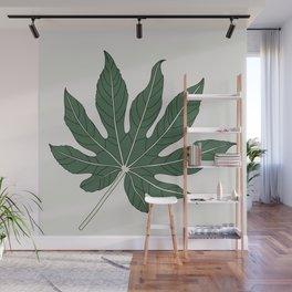 Aralia Leaf Illustration Wall Mural