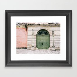 Old wooden green doors in Italy | Wanderlust travel photography art Framed Art Print