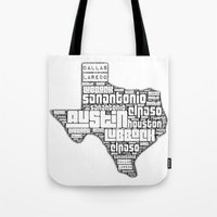 texas Tote Bags featuring Texas by Artsy B