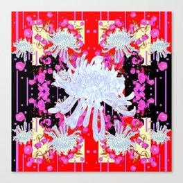 Black & Red Decorative Modern White Mums Patterns Flowers Canvas Print