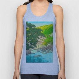 Vintage Japanese Woodblock Print Beautiful Water Creek Grey Rocks Green Trees Unisex Tank Top