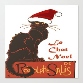Le Chat Noel Christmas Vector Canvas Print