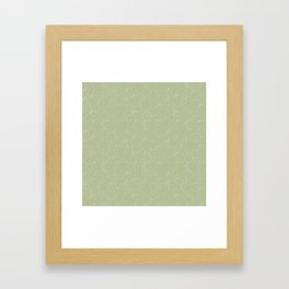 Beige And Olive Swirl Green Abstract Pattern Framed Art Print