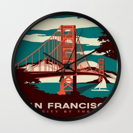 vintage poster san francisco Wall Clock
