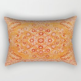 Orange Boho Oriental Vintage Traditional Moroccan Carpet style Design Rectangular Pillow
