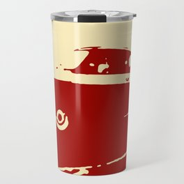 Fiat 500 classic, Dark Red on Cream Travel Mug