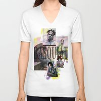 basquiat V-neck T-shirts featuring Basquiat by Andrew Spangler