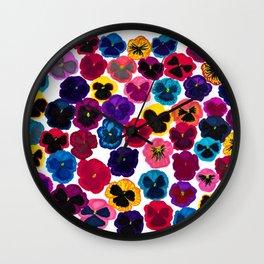 Plentiful pansies Wall Clock