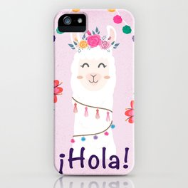 ¡Hola! Cute Pink Alpaca - Boho Llama Illustration iPhone Case