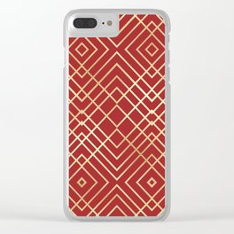 Modern Chinese Red Art Deco Geometric Pattern Clear iPhone Case