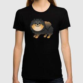 Black And Tan Pomeranian Dog Cute Cartoon Illustration T-shirt