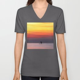 Stand up paddle and calm water in the sunset Unisex V-Neck