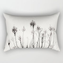 Dried Tall Plants and Flying White Birds Rectangular Pillow