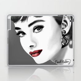 Audrey Hepburn gray-scale with red lips Laptop & iPad Skin