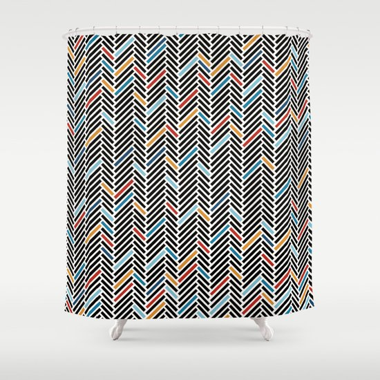 Herringbone Blue And Black 3 Shower Curtain By Project M