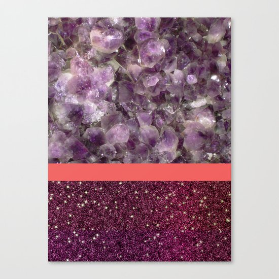Pink Striped Purple Quartz and Glitter Canvas Print