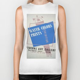 Vintage poster - Water Colors and Prints Exhibition Biker Tank