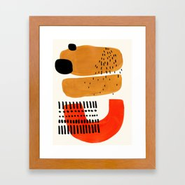 Mid Century Modern Abstract Minimalist Retro Vintage Style Fun Playful Ochre Yellow Ochre Orange Sha Framed Art Print