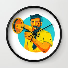 Bearded Hipster Man With Megaphone WPA Wall Clock