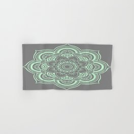 Mandala Flower Gray & Mint Hand & Bath Towel