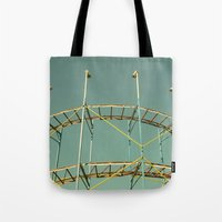 coasters Tote Bags featuring rollercoaster by Bianca Green