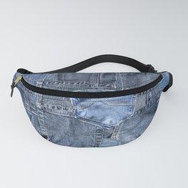 Blue Jeans Pocket Patchwork Pattern Fanny Pack