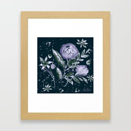 Moonlight Watercolor Roses Framed Art Print